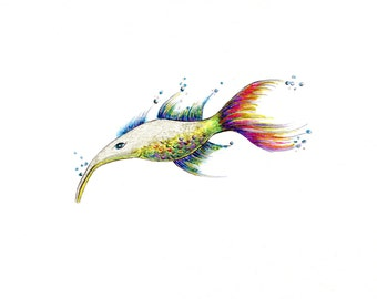 """Shimmer Fish Print:  Digital print of an original drawing available 5x7"""" or 8x10"""""""