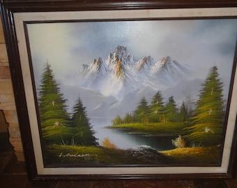 Original Oil on Canvas/ Signed L. Hudson/Mountain/ Trees/Lake