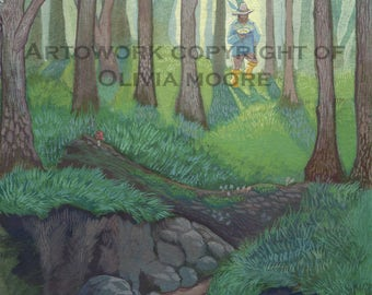 """Lord of the Rings Art - Tom Bombadil Skipping Down the Withywindle - Original Watercolor Painting - Tolkien Art 7"""" x 10"""""""