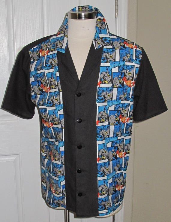 Batman print Men's bowling shirt in 10 sizes