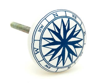 Ocean Nautical Compass Boat Sea, Navy Blue Ceramic Knob Pull for Cabinets, Drawers or Doors - i2