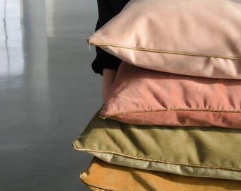 Velvet decorative cushion cover with leather piping, autumn colours