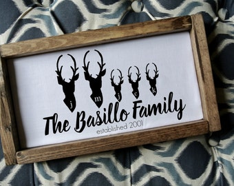 Family Name wood Art, Deer Family Art, Personalized Sign, Family wood frame, Rustic frame, Rustic Frame, Wedding Gift, 2nd Anniversary gift