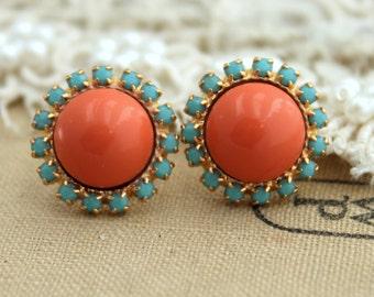 Coral Mint Earrings, Salmon Pink Studs, Coral Earrings, Christmas Earrings, Gift For Her, Swarovski Salmon Pink Stud Earrings, Brida Studs