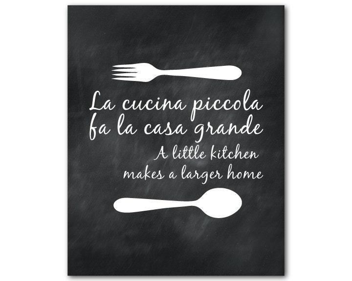 Art de mur de cuisine La cucina piccola fa la casa grande