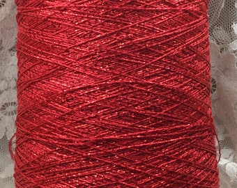 metallic coned yarn approx 4500 yds lb red metallic machine knitting crafts altered art sweaters