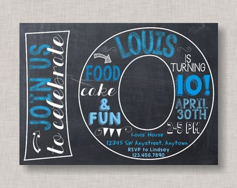 Tenth Birthday Invitation, 10th Birthday Invitation, Boy Birthday Invitation, 10th, Number 10, Tenth Birthday, Boy 10th, Chalkboard