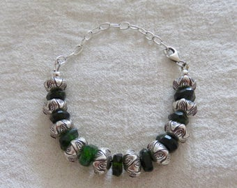 Siberian Chrome Diopside bracelet with handmade Sterling Silver beads and chain, adjustable bracelet