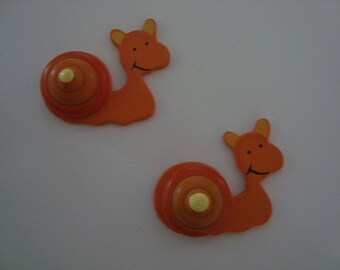 Set of two snails orange wood stick