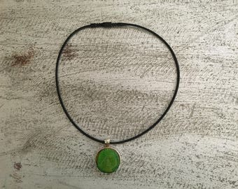 Kelly Green Wood Resign Necklace