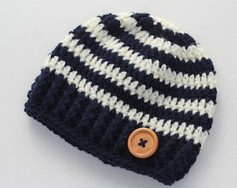 Crochet baby boy hat, navy blue and cream, boy winter hat, infant hat, crochet beanie - MADE TO ORDER