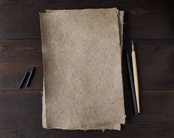 Deckle edge paper Rustic wedding handmade paper Eco friendly paper Textured paper Writing paper (#33)