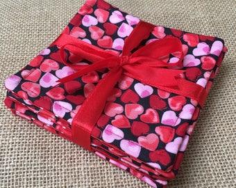 6 Handmade Valentine Heart Coasters