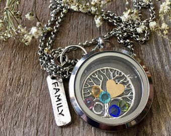 Family Tree Birthstone Floating Locket