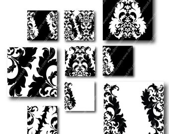 Damask 1 inch Square Tiles, Digital Collage Sheet, Download and Print JPEG Images