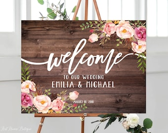 Rustic Welcome Wedding Sign, Welcome To Our Wedding Sign, Horizontal Landscape Wedding Sign,  Wedding Sign Printable, W84