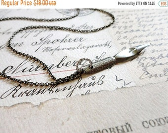 30% OFF SALE Vintage empire pen company calligraphy pen necklace, stainless steel, no. 23, Sincerely Yours