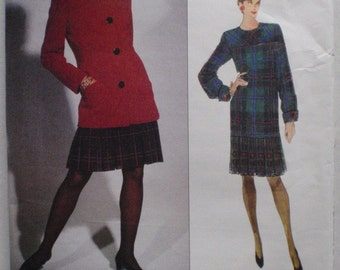Bill Blass Sewing Pattern - Misses/Misses Petite Lined Jacket and Dress - Vogue 1027 - Sizes 18-20-22, Bust 40 - 44, Uncut