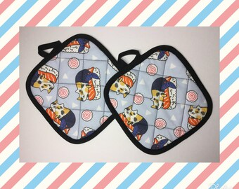Sushi Cat Kitchen pot holders  *Ready to Ship