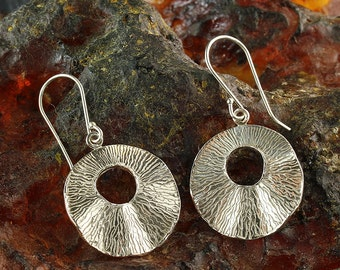 925 Sterling Silver dangle earrings. Textured free form round shaped Silver dangle earrings. Unique artisan design. X411