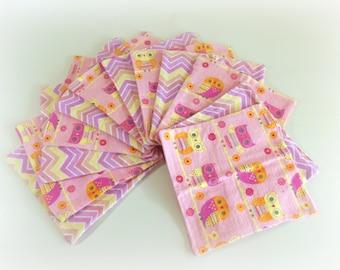 Cloth Wipes, Washcloths, Burp Cloths, Handkerchiefs Set of 12 in Pink Owls and Chevron Prints