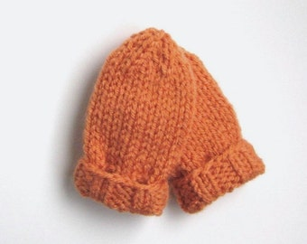 Orange Baby Mittens in Newborn Infant Size 0 to 3 Months, Hand Knit Warm Winter Clothing Thumb-less Mitts for Boy or Girl Baby Shower Gift