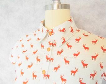 My Deerest Dress - Deer Woodland Button Up Indie Hipster Orange Cotton Casual