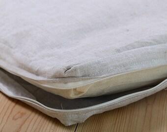 Eco-friendly Linen crib mattress cover with long zipper. Natural linen mattress case for baby crib. Zip-Off Cover for crib mattress