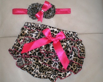 Leopard Ruffled Satin Diaper Cover and Headband Set, Diaper Cover, Baby Shower Gift, Photo Prop
