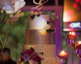"Bling Wedding Cake Topper - Glitter Crystal Rhinestone Monogram Initial Letter (6"" Tall) | A B C D E F G H I J K L M N O P Q R S T U V W X Y"