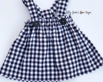 Black and white flannel Suspenders skirt