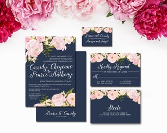 Navy and Blush Wedding Invitation Suite