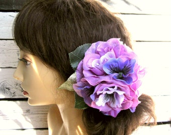 Purple Hair Flower, Purple Rose Hair Clip, Pinup Hair Clips, 1940s 1950s, Floral Fascinator, Wedding Hair Clip- Purple Pansy and Roses