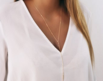 Long Gold Y necklace, Gold Lariat Necklace, Layering Necklace, Long Gold Necklace; Y Necklace, drop Necklace,