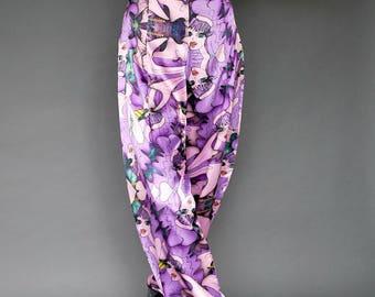 Vintage Harem Pants, 80s Disco Pants, Boho Silk Pants, Exotic Silk Pants, Fantasy Silk Pants, Burning Man Pants, Morocco Style Pants