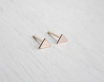 Triangle Stud Earrings in 14k Rose Gold Fill