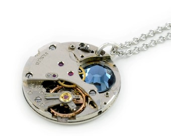 Steampunk Vintage Watch N Montana Crystal Necklace