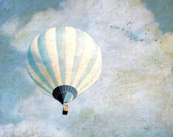 "Balloon photography white blue dreamy pastel spring  surreal art for nursery - ""Above Us Only Sky"" 8 x 10"