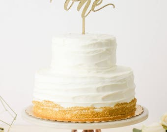 """First Birthday Cake Topper - ONE Cake Topper - 5"""" Wide - Laser Cut Wood or Acrylic"""