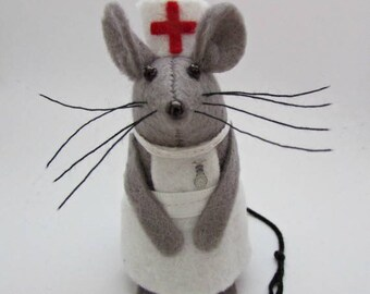 Nurse Mouse - Felt Mice - Felt Mouse - Nurse Ornament- Medical Ornament- Nurse gift