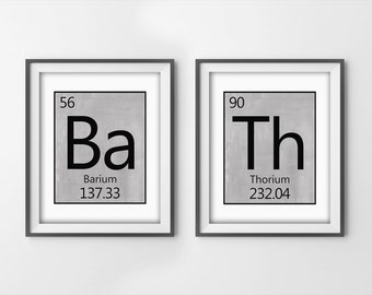 Art Prints   Bath   Periodic Table Of Elements   Funny Bathroom Art   Grey