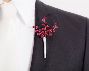 Limited Edition Pearlescent Red Boutonniere - Red Boutonniere - Mens Boutonniere