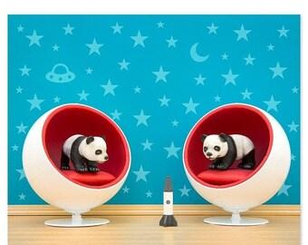 30% OFF SALE Mid century modern baby animal print: Space Pandas