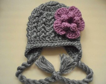 Newborn girl hat, baby earflap hat, baby girl hat, winter baby hat, crochet baby hat, wool baby hat, newborn girl outfit
