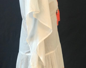 White Poncho with embroidery