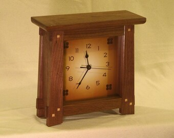 Arts & Crafts, Mission Style Clock - Walnut