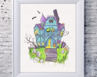 Haunted House Drawing | Watercolor Prints | Halloween Home Decor | Halloween Drawing | Whimsical Art | Watercolor Illustration | Pigknit