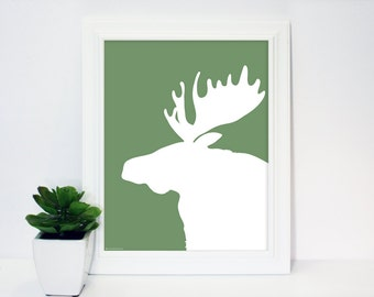 Moose Silhouette, Instant Download, Printable Art Print, Sage Green, White, Wall, Decor, Modern Nursery, Rustic Contemporary, Animals