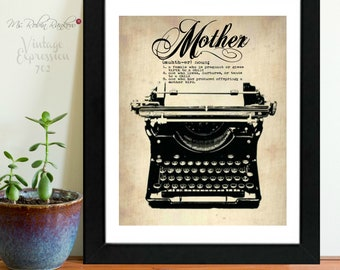 Mother, Dictionary, Definition, Silhouette, Typewriter, Art Print