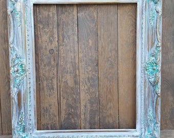 Colonial Shabby Chic Style Frame, white wash, wedding frame, nursery decor, french decor frames, shabby chic frame, Wood picture frame